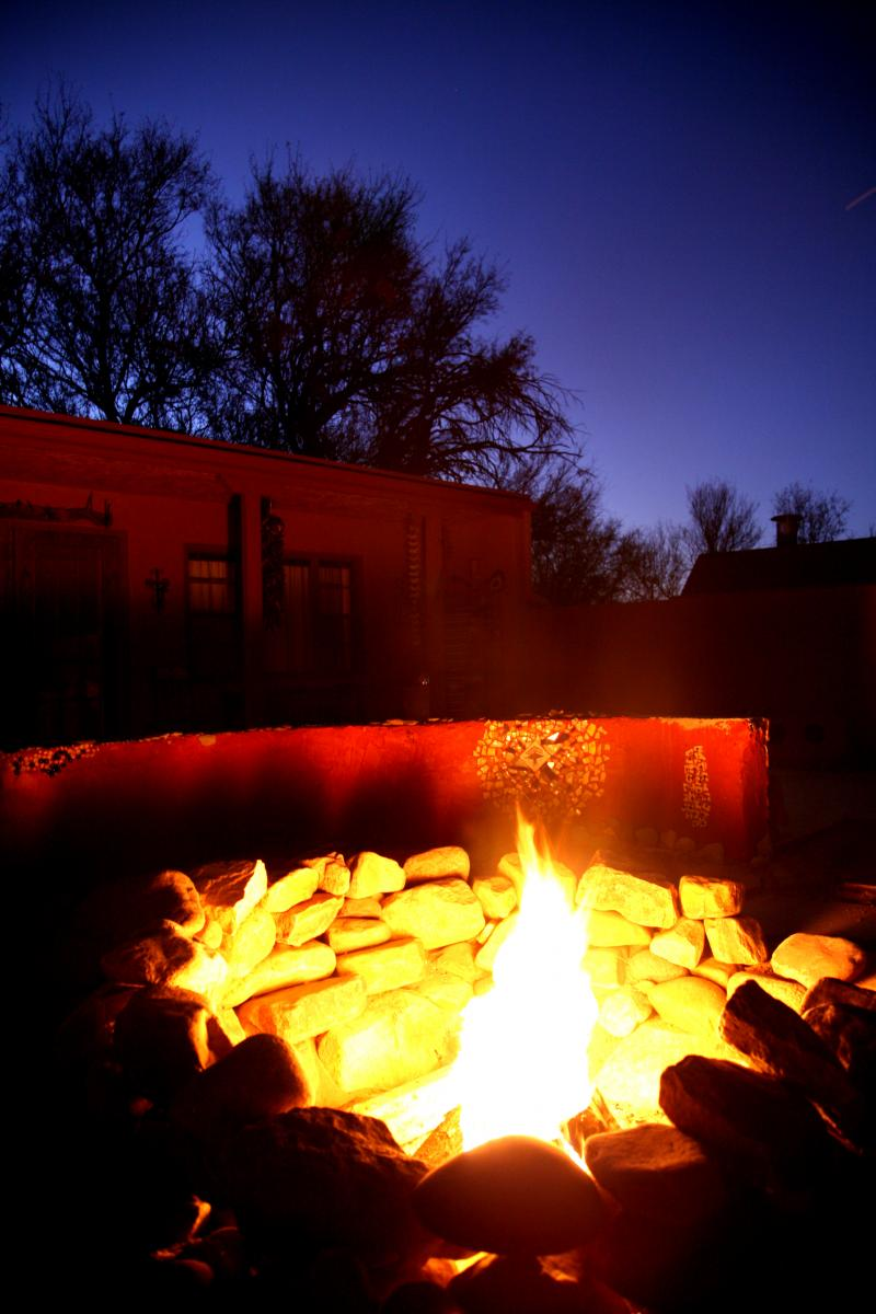 Warming up around the firepit